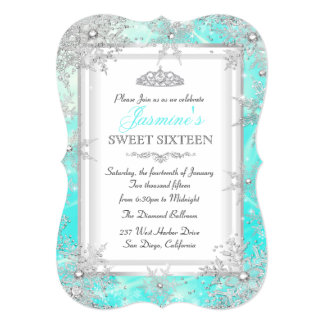 Teal Blue Silver Winter Wonderland Sweet 16 Party Card