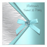 "Teal Blue Silver Zebra Sweet 16 Party 5.25"" Square Invitation Card"