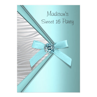 Teal Blue Silver Zebra Sweet 16 Party Announcements
