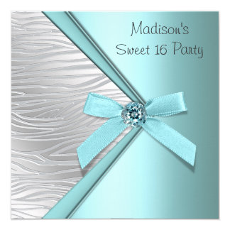 Teal Blue Silver Zebra Sweet 16 Party Invitations
