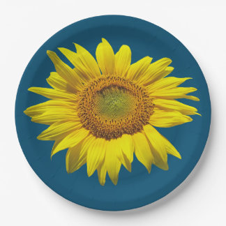 Teal Blue Single Sunflower Paper Plate 9 Inch Paper Plate