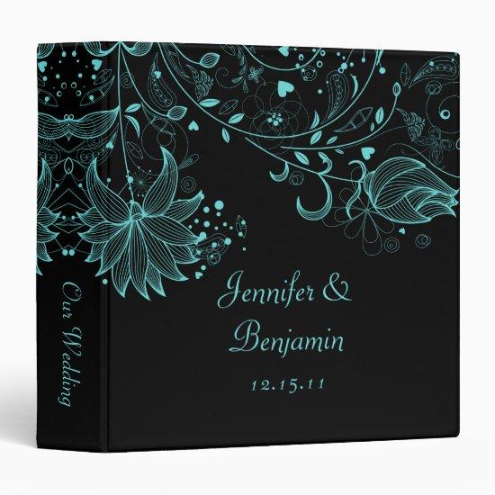 Teal Blue Sketched Flowers on Black Photo Album 3 Ring Binder
