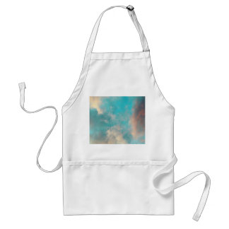 Teal Blue Sky Clouds Adult Apron