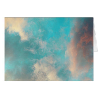 Teal Blue Sky Clouds Card