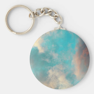 Teal Blue Sky Clouds Keychain