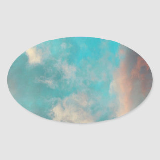 Teal Blue Sky Clouds Oval Sticker