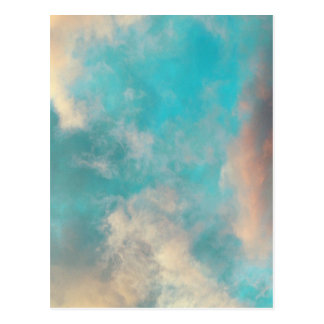 Teal Blue Sky Clouds Post Card