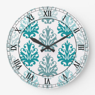 teal blue slate blue white damask roman numerals wall clocks