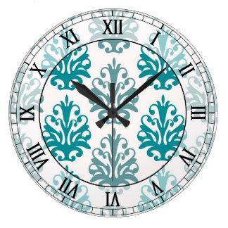 teal blue slate blue white damask roman numerals wallclock