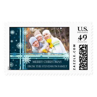 Teal Blue Snow Merry Christmas Custom Name Photo Stamp