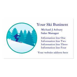 Teal Blue Snow Ski Circle Logo Business Template Business Card Templates