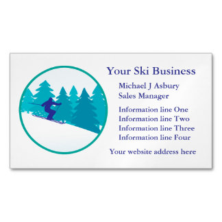 Teal Blue Snow Ski Circle Logo Magnetic Business Cards (Pack Of 25)