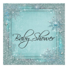 Teal Blue Snowflake Baby Shower Invitations