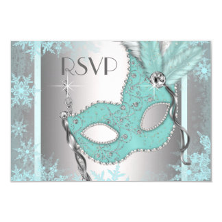 Teal Blue Snowflake Masquerade Party RSVP Card