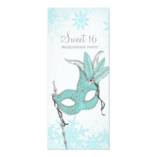 Teal Blue Snowflake Sweet 16 Masquerade Party Card