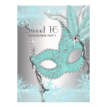Teal Blue Snowflake Sweet 16 Masquerade Party Invitation