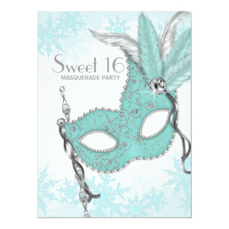 Teal Blue Snowflake Sweet 16 Masquerade Party Custom Announcement