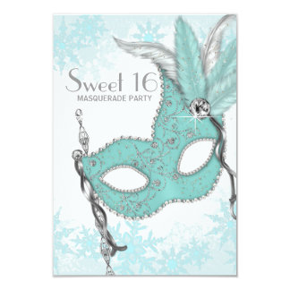 Teal Blue Snowflake Sweet 16 Masquerade Party Custom Invitations