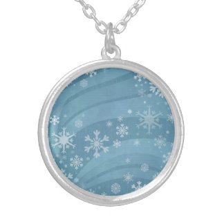 teal blue snowflake wind necklace