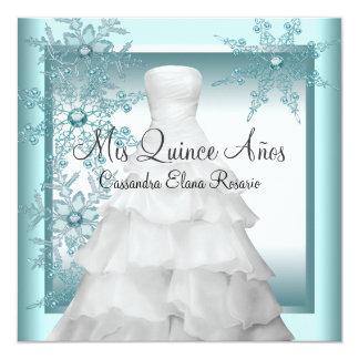 Teal Blue Snowflake Winter Wonderland Quinceanera Card