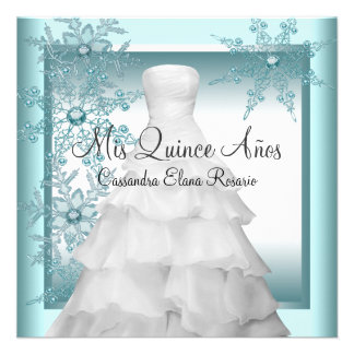 Teal Blue Snowflake Winter Wonderland Quinceanera Announcements