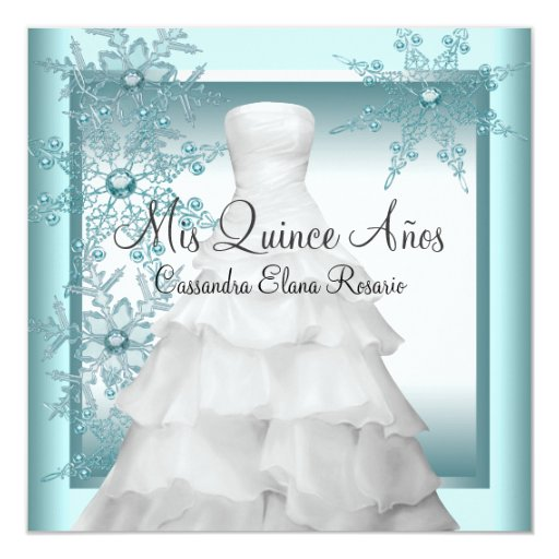 Teal Blue Snowflake Winter Wonderland Quinceanera 5.25x5.25 Square Paper Invitation Card