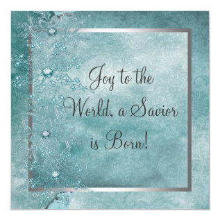 Teal Blue Snowflakes Christian Christmas Party Card at Zazzle