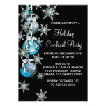 Teal Blue Snowflakes Ornaments Christmas Party Personalized Invite