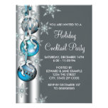 Teal Blue Snowflakes Ornaments Christmas Party Custom Invitations