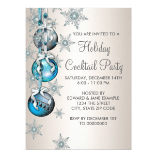 Teal Blue Snowflakes Ornaments Christmas Party Custom Invites