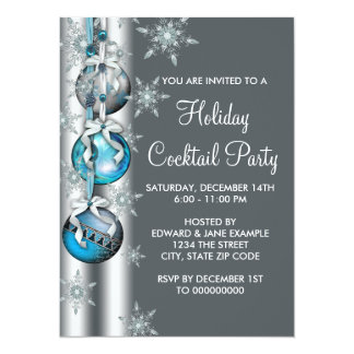 "Teal Blue Snowflakes Ornaments Christmas Party 5.5"" X 7.5"" Invitation Card"
