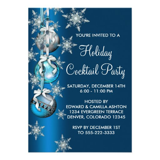 Teal Blue Snowflakes Ornaments Christmas Party 5x7 Paper ...