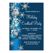 Teal Blue Snowflakes Ornaments Christmas Party Invitation