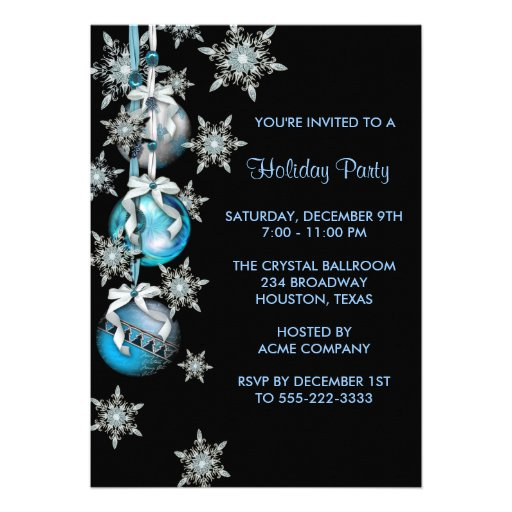 teal blue snowflakes ornaments christmas party invitation rb52469598cdb4f8285349c7ca7e5ce5e 8dnm8 8byvr 512 Teal Christmas
