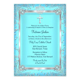 Teal Blue Sparkle Photo Baptism Christening Card