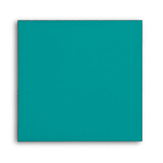 Teal Blue Square Scrollwork Monogrammed Envelopes
