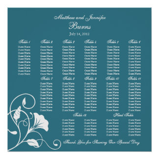 Teal Blue Square Wedding Reception Seating Chart Poster