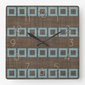 Teal Blue Squares Pattern On Dark Coffee Brown Square Wall Clock