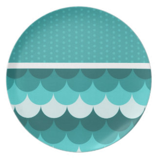 Teal Blue Stacked Circles and Polka Dots Dinner Plate