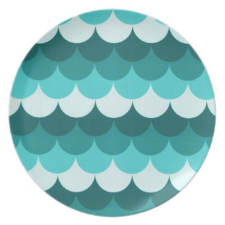 Teal Blue Stacked Circles Melamine Plate