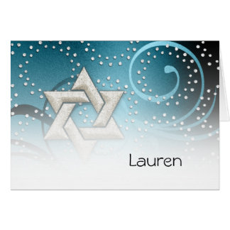 Teal Blue Star of the David and Crystals Thank You Greeting Cards