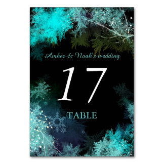 Teal Blue Starry Forest Wedding Table Numbers