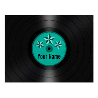 Teal Blue Stars Personalized Vinyl Record Album Postcard