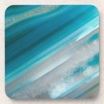Teal Blue Stone Pattern Drink Coaster