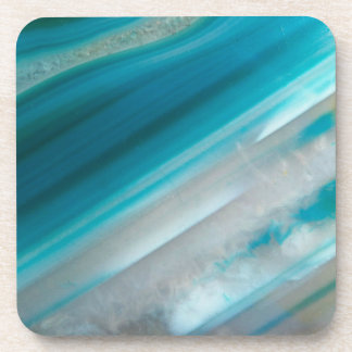Teal Blue Stone Pattern Drink Coaster