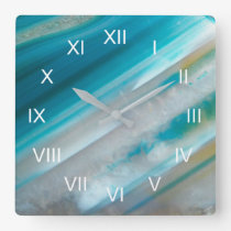 Teal Blue Stone Pattern Roman Numeral Square Wall Clock