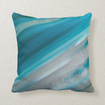 Teal Blue Stone Pattern Throw Pillow