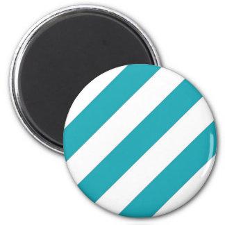 Teal Blue Stripes Magnet