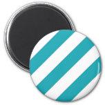Teal Blue Stripes Refrigerator Magnets