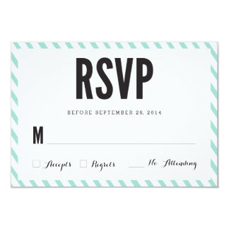 Teal Blue Stripes RSVP Response Card Personalized Invites